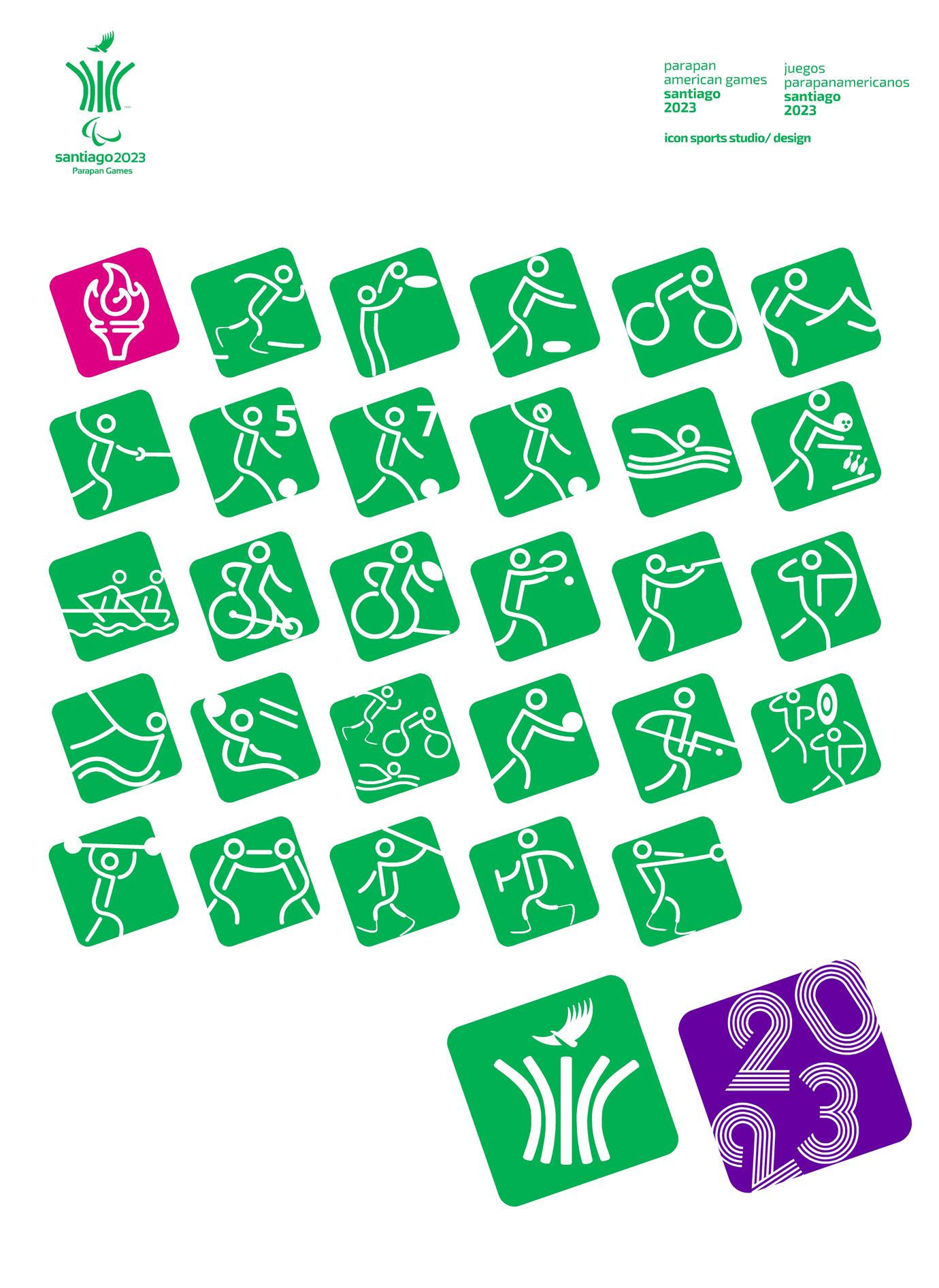 Pictogramas oficiales juegos parapan americanos Santiago 2023 B